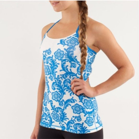 lululemon athletica Tops - Lululemon Power Y Blue Lace Tank Top